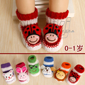 Baby cartoon leather sole crochet slip-resistant socks 0-1baby girls boy flat infant toddler sock animal boot+FREE SHIPPING
