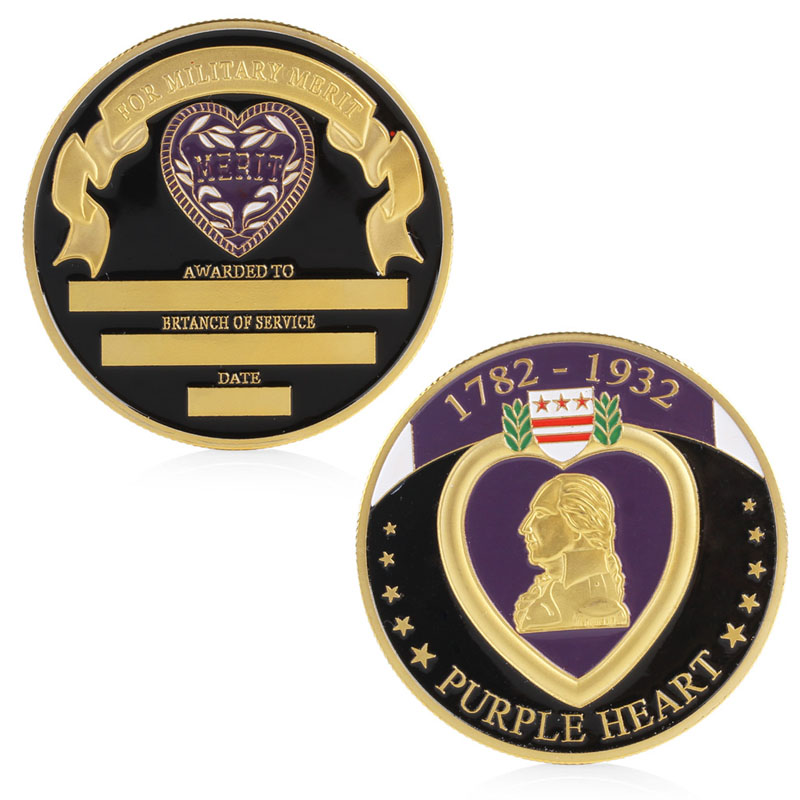 US $1 59 31% OFF|Purple Heart Military Merit Commemorative Challenge Coin  Collectible Physical-in Non-currency Coins from Home & Garden on