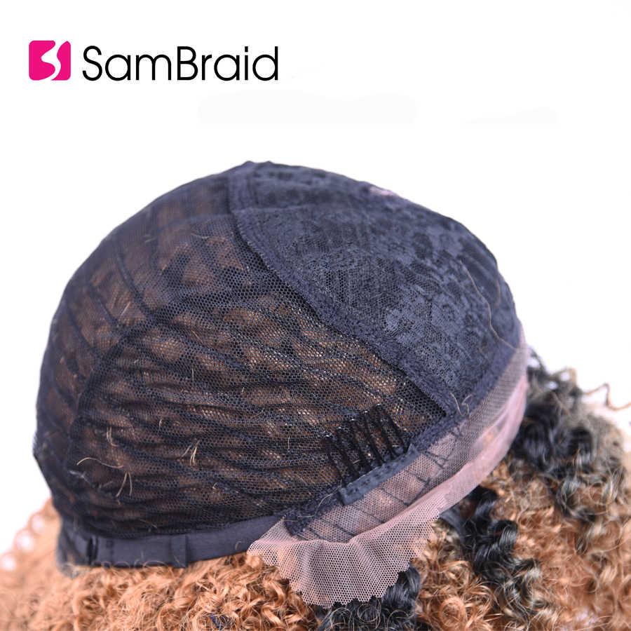 SAMBRAID кудрявые вьющиеся волосы для черных афро синтетических плетения волос парики кружева спереди парики для женщин 14 дюймов/200 г