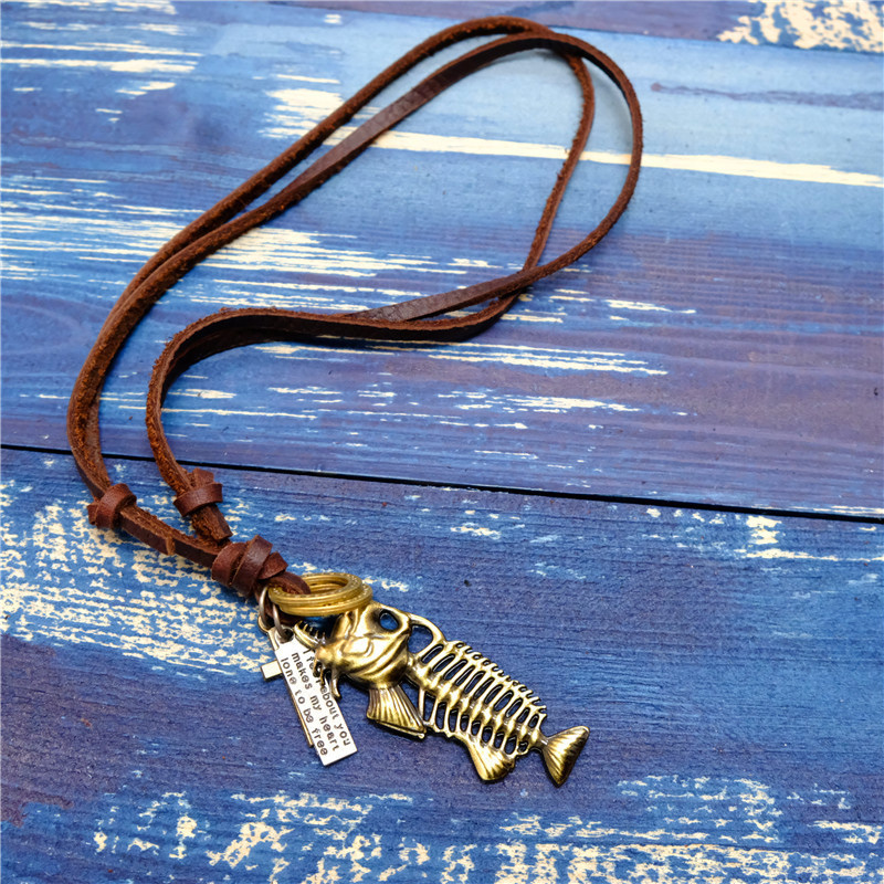 NIUYITID Fish Bone Pendant Necklace For Women Men Genuine Leather Necklace Boy Gift 2018 Fashion Jewellery Drop Shipping