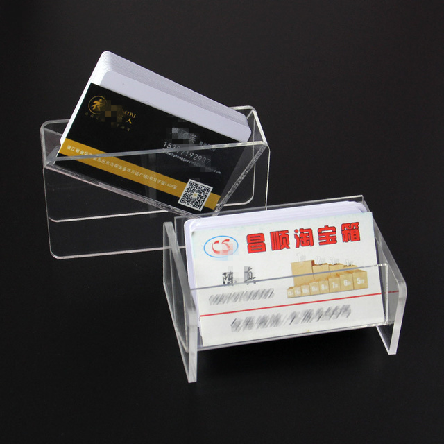 166b4fb4d Transparent Business card case holder Acrylic Plastic desktop seat Shelf  organizer storage Box Display Stand for home office