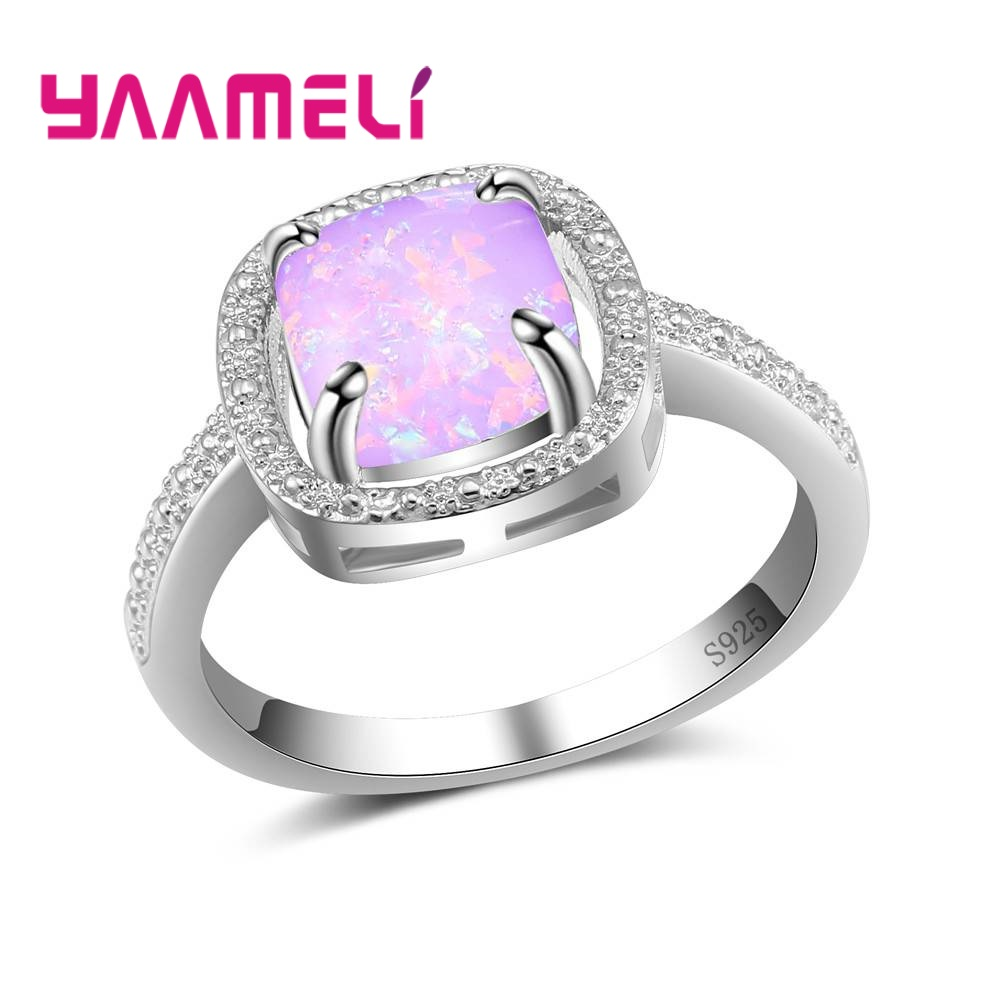 YAAMELI Elegant Simple Style 925 Sterling Silver Accessories Wonderful Finger Rings For Women With Sparking Stone Shimmering