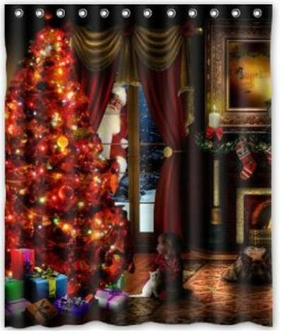 Free Shipping The Christmas Tree Shower Curtain Bath Effect Water Proof Cube