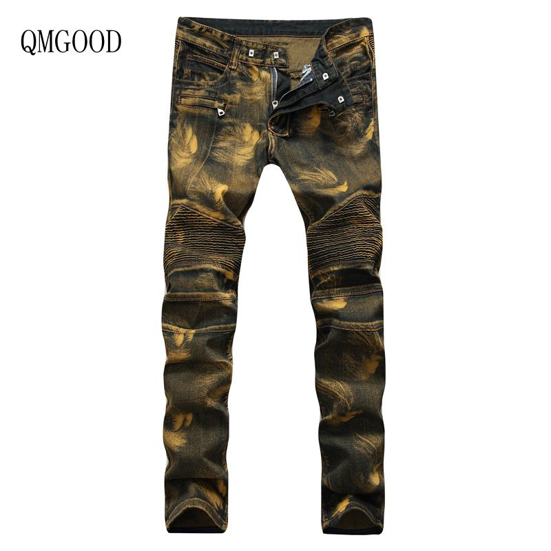 QMGOOD 2017 New Fashion Stretch Large Size Men Jeans Washed Retro Slim Biker Jeans Men Skinny Casual Jeans Male Trousers 32 36 nwt bp men s stylish fashion stretch slim cargo washed biker green jeans size 28 40 933