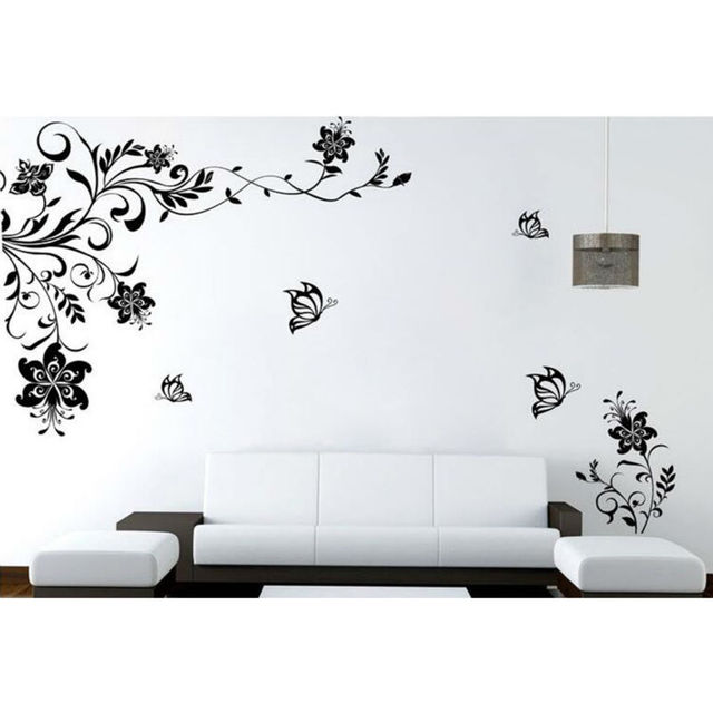 european style black flower wall stickers wall decal removable art