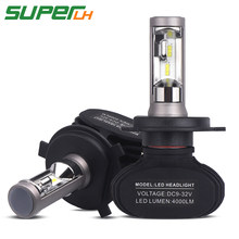 SUPERLH 2 Pcs Car Headlight S1 H7 LED H4 H1 H3 H8 H11 H13 H27 880 9004 9005 9006 9007 50W 8000LM Auto Headlamp 6500K Light Bulb(China)