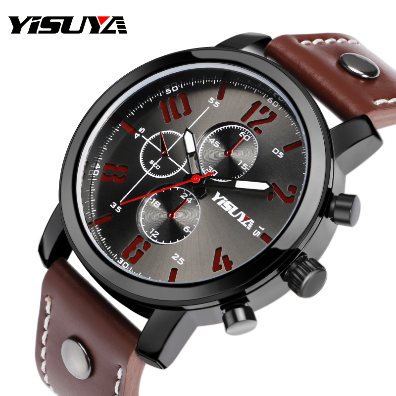 YISUYA Top Men's Quartz Wrist Watch Sport Military Brown Genuine Leather Band Deco Analog Army Watches Gifts Relogio Masculino