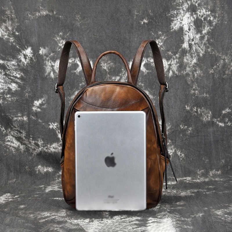 AETOO Новинка Ретро Женская сумка Дерево мазь салфетка для рук цвет двойной плечо Baotou слой воловья кожа Повседневный женский рюкзак