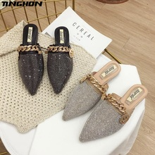 TINGHON Flat Mules Shoes Rivets Slippers Women Brand Buckle Fashion Slides Ladies Luxury Designer