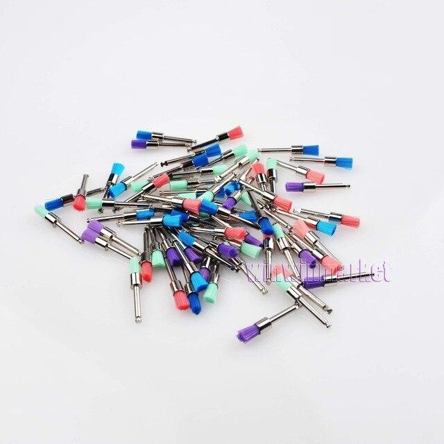 50 Pcs Dental equipamentos colorido Nylon trava plano polimento polidor Prophy escovas