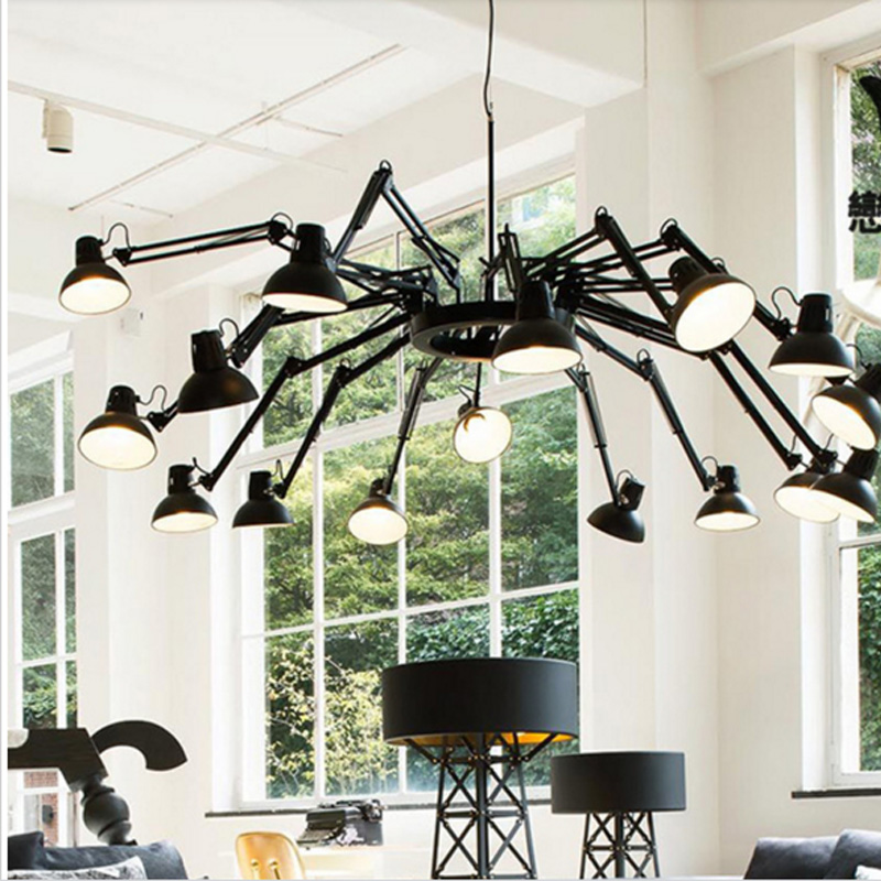 Nordic living room dining room lamp American minimalist creative iron modern office Vintage industrial spider Chandelier lights iminovo creative american modern minimalist coffee bar lamp three dining room lights nordic retro industrial dining chandeliers