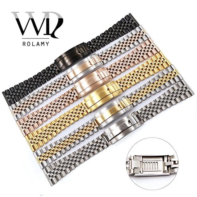 Bracelet de montre Rolamy 20 22mm pour Omega IWC Tudor Seiko Breitling Bracelet de poignet en acier inoxydable de remplacement