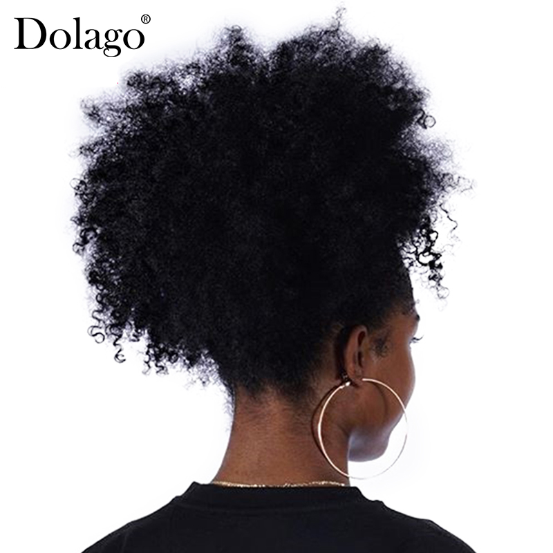 Afro Kinky Curly Ponytail Remy Hair Pieces For Women Natural Black Clip In Ponytails Drawstring 100% Human Hair Dolago Products
