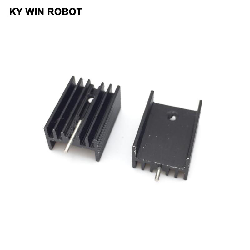10pcs Free Shipping Aluminium TO-220 Heatsink TO220 Heat Sink Transistor Radiator TO220 Cooler Cooling Black 20*15*10MM With Pin