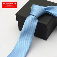 Sky Blue Ties for Men Romguest 2017 Pure Color Korean Version Narrow Solid Light Blue Neckties 6cm Man Casual Fashion Tie