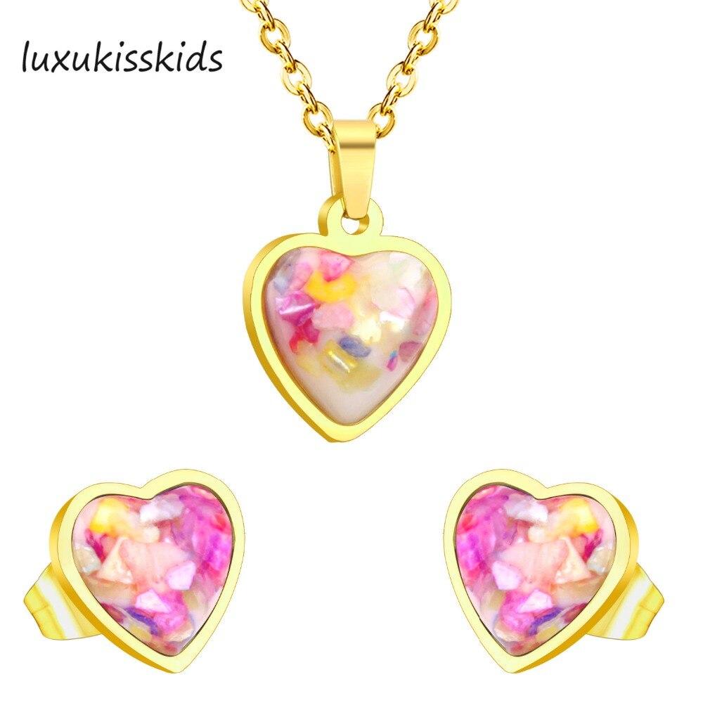 LUXUKISSKIDS моды золотое покрытие эмаль ювелирные наборы, Нержавеющаясталь Любовник Сердце Стиль кристалл кулон с серьги, бесплатная Сеть
