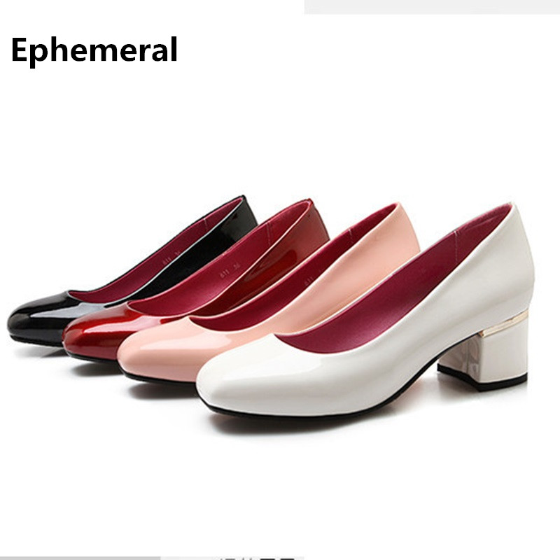 Lady Glitter Kvoll High Quality Square Toe Thick Med Heels Design Slip- On Plus size 34-43 Elegant High heels Women Pumps For OL lady glitter high fashion designer brand bow soft flock plus size 43 leisure pointed toe flats square heels single shoes slip on
