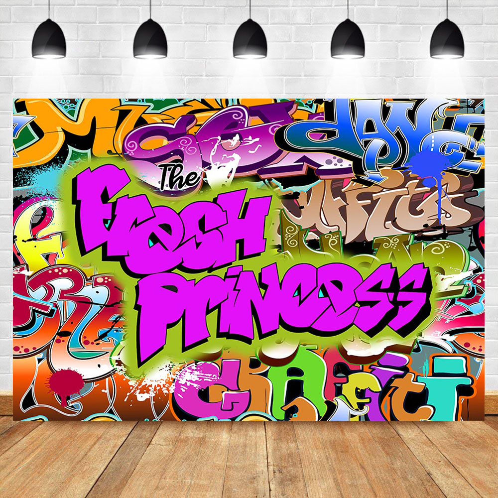 NeoBack The Fresh Princess Backdrop Hip Pop Graffiti Background Vinyl Baby Shower Party Banner Backdrops