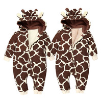 Autumn Winter Warm Baby Clothes Cartoon Animal Hooded Rompers Boys Girls Baby Clothing Leopard Giraffe Thick Fleece Jumpsuit
