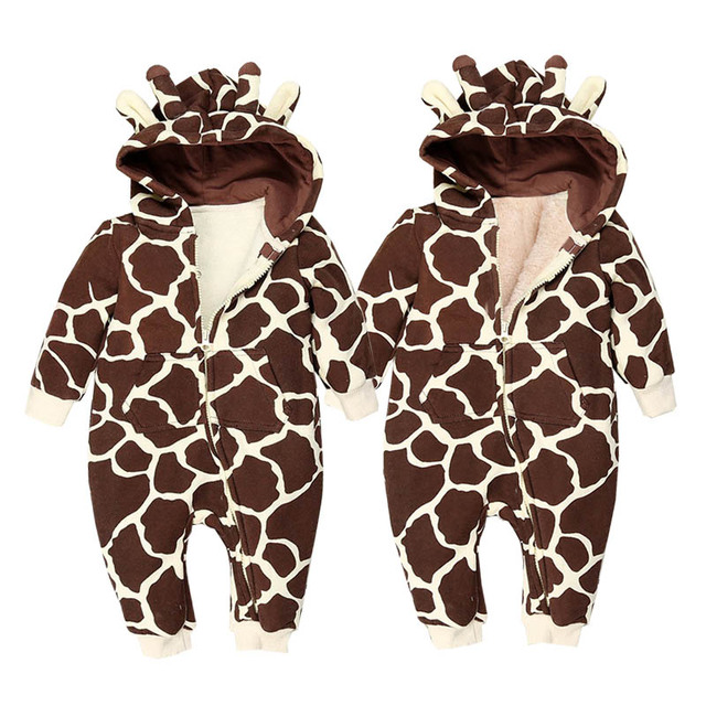 5796a6136f31 Autumn Winter Warm Baby Clothes Cartoon Animal Hooded Rompers Boys ...
