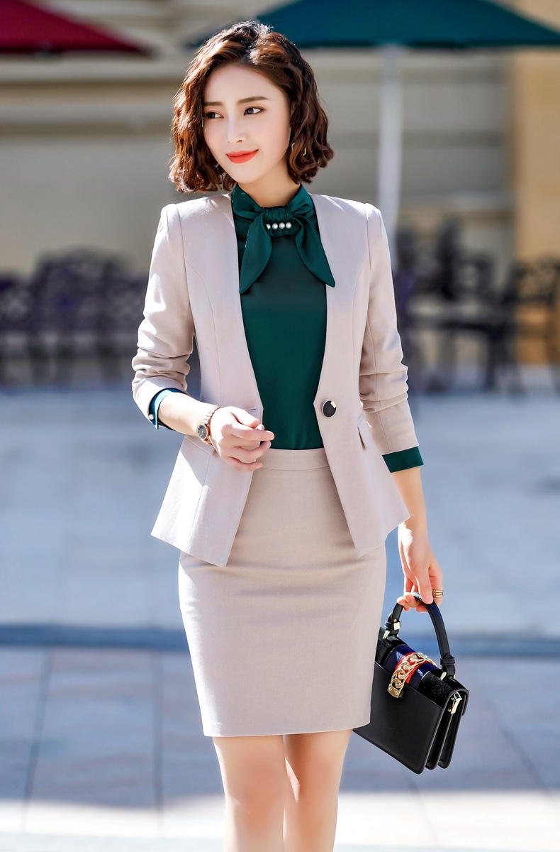 IZICFLY New Business Beige Spring Clothes For Ladies Office Uniform Blazer Work Suit Styles Formal Women Suits Skirts And Tops