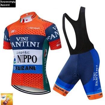 2019 hombres verano equipo Pro VINI Ciclismo Jersey naranja bicicleta pantalones cortos...