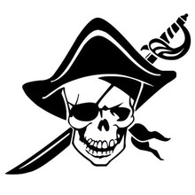 Car -covers 12*10CM PIRATE SKULL Vinyl Car Sticker Skeleton Motorcycle Decal Accessories Model e  Jdm