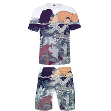New listing Anime Ponyo On The Cliff T-shirt+Beach shorts men /women Hip Hop Summer Casual 3D print boys/girls two-piece suits(China)