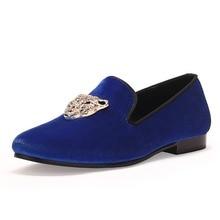 Animal Boucle Hommes Classique Chaussures De Mariage Bleu Velours Mocassins Diamant Robe Chaussures Rouge Semelle Inférieure Livraison Gratuite Taille 7-14
