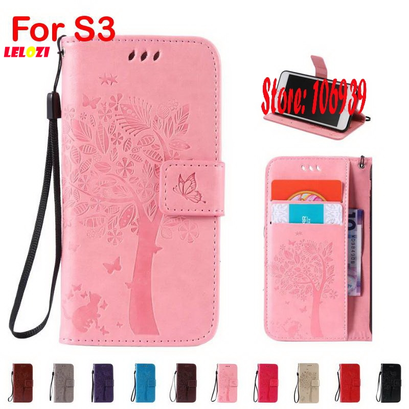 LELOZI Tree Leaf Star Cat Butterfly PU Leather Leathe Wallet Girl Walet Case Bag coque For Samsung Galaxy S3 S III SIII I9300