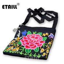 ETAILL Ethnic Hmong Boho Indian Embroidery Crossbody Bags Flower Embroidered Messenger Shoulder Bag Small Coins Phone