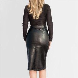 Image 3 - 新 2019 の女性のミディスカート Pu レザー黒ハイウエスト非対称セクシーなスリットペンシルスカートボディコンエレガント Femininas SK8673
