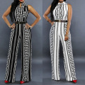 combinaison pantalon femme rompers womens jumpsuit elegant sexy white black Aztec club overalls Stretch Wide Leg Long Jumpsuits