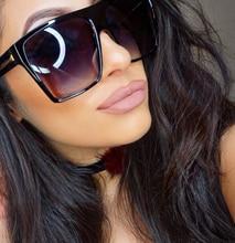 YUMOMO Vintage Sunglasses Women Brand Designer Oversized Sun Glasses Shades Large Black Lens UV400 Fashion Eyewear