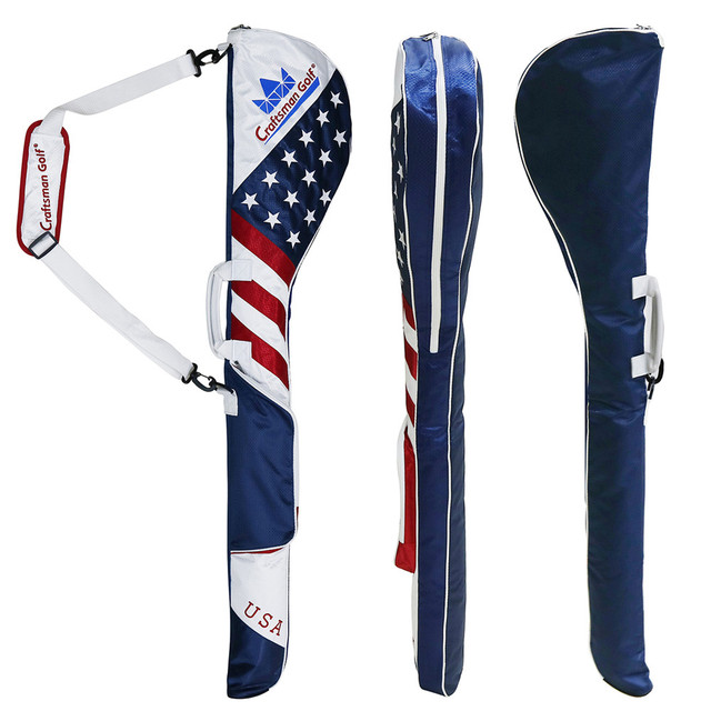 Golf Club Case Large Capacity Anti Scratch Waterproof Collapsible Usa Flag Sunday Bag Range
