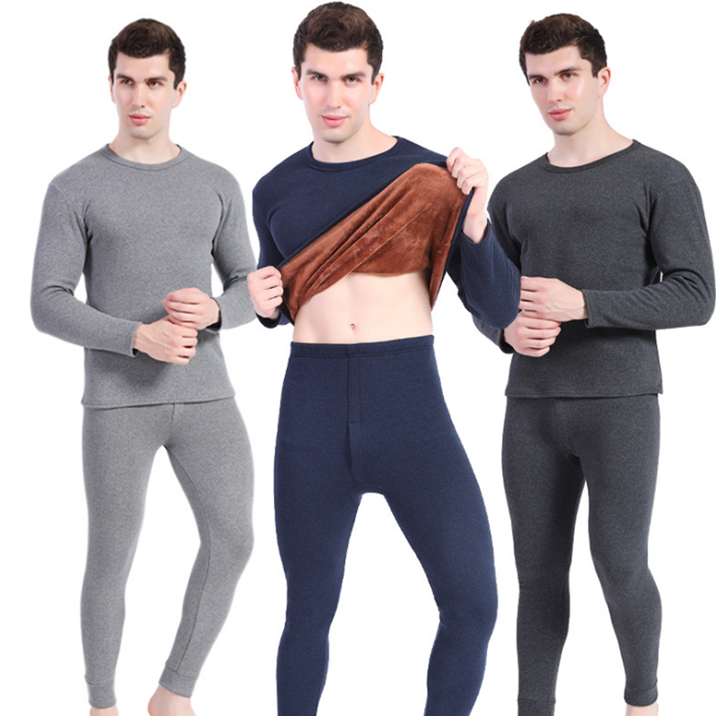 2019 Autumn Winter Hot Men Thermal Underwear Thick Warm Plus Velvet Tops + Pants 2 pcs Sets Long Johns