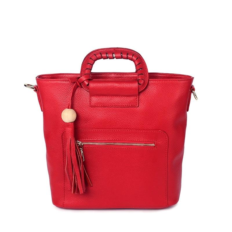 P201 European and American Fashion litchi grain leather handbag fashion Top layer cowhide tassel shoulder bag