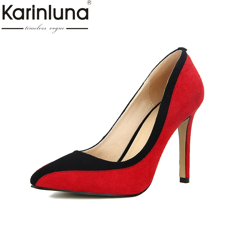 Karinluna Large Size 34-42 Thin High Heels Brand Spring Women Shoes Woman Pumps Sexy Patchwork Party Lady Footwear taoffen ladies leisure casual flats shoes low heels lady loafers sexy spring women brand footwear shoes size 34 42 p16166