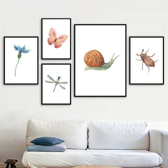 Butterfly Snail Flower Wall Art Canvas Painting