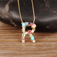 Hot Sale Gold Color Initial CZ Necklace Charm Letter Necklace Name Jewelry For Women Accessories Girlfriend Best Gift 3