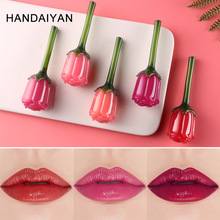 HANDAIYAN 5 ml forma de flor 3D brillo de labios mate líquido lápiz labial impermeable 24 H hidratante duradero brillo de labios TSLM2