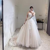Fabulous A line Wedding Dresses Sweetheart Neckline Elegant White Ivory Bridal Dress Floor Length Robe De Mariee For Korea Girl
