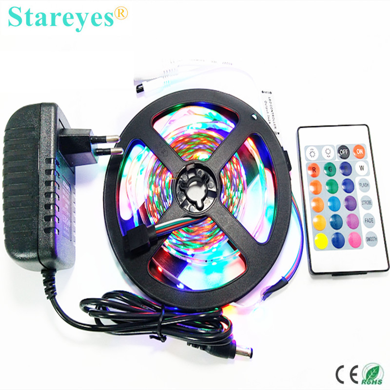 1 set 5M SMD 3528 2835 300 LED RGB led Strip led light tape flashlight lighting Non Waterproof strip + Remote+2A Power Adapter