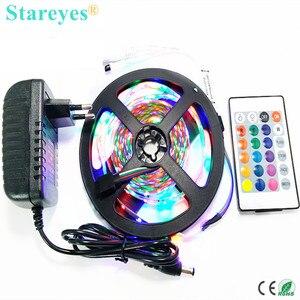 1 set 5M SMD 3528 2835 300 LED RGB led Strip led light tape flashlight lighting Non Waterproof strip + Remote+2A Power Adapter