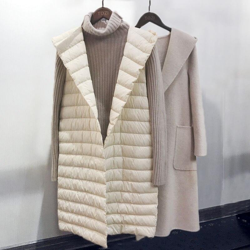 Autumn Winter Women Sleeveless Long Down Jacket Hooded Ultra Light White Duck Down Vest Coat Lady