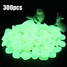 300pcs Garden Glow in the Dark Luminous Pebbles Stone Rocks for Walkways Garden Bar Aquarium Decor Pebbles Glow Stones(China)