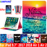 Voor iPad 2018 case Cover Fashion Painted Leather Smart Case voor iPad 9.7 2017 2018 Air 1 2 5 6 5th 6th Generatie Coque Fanda