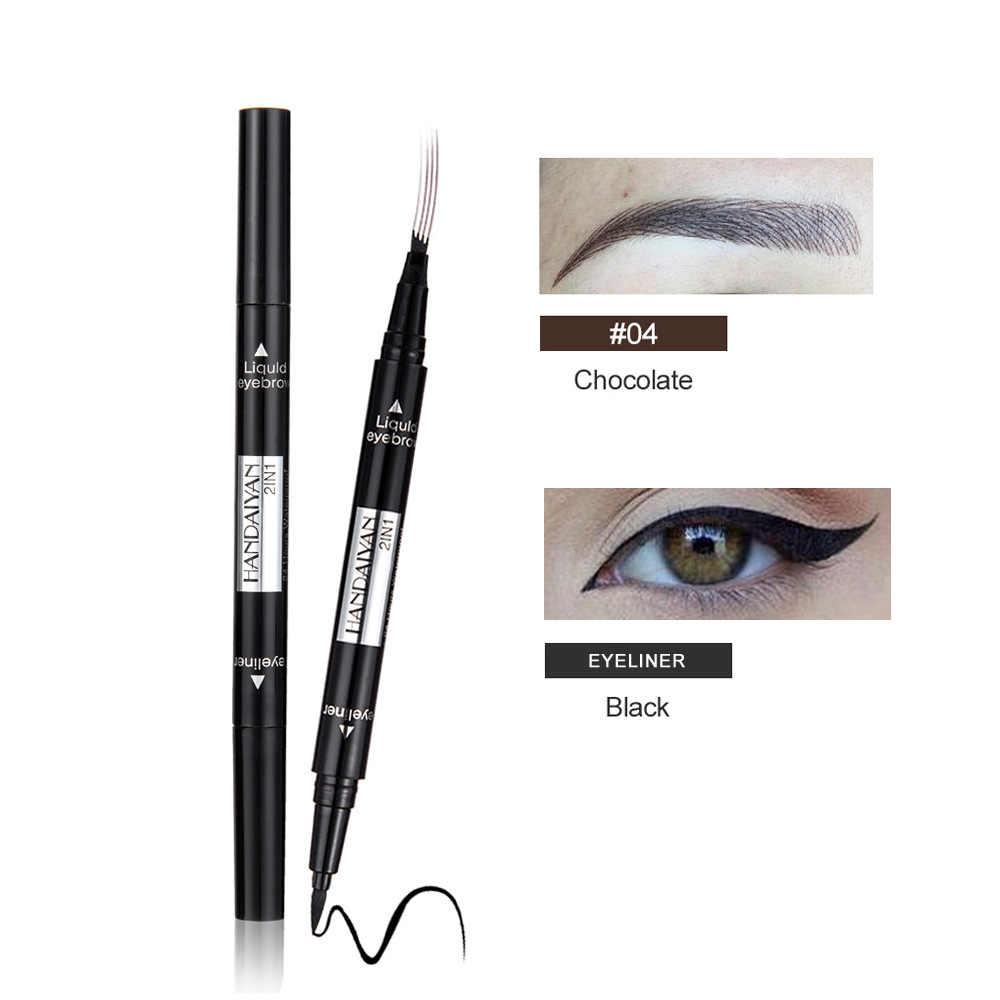 1 PC 2 in1 dwukrotnie koniec płynny eyeliner do oczu z ołówek do brwi wodoodporny naturalne, trwałe automatyczne kosmetyczne narzędzie do makijażu