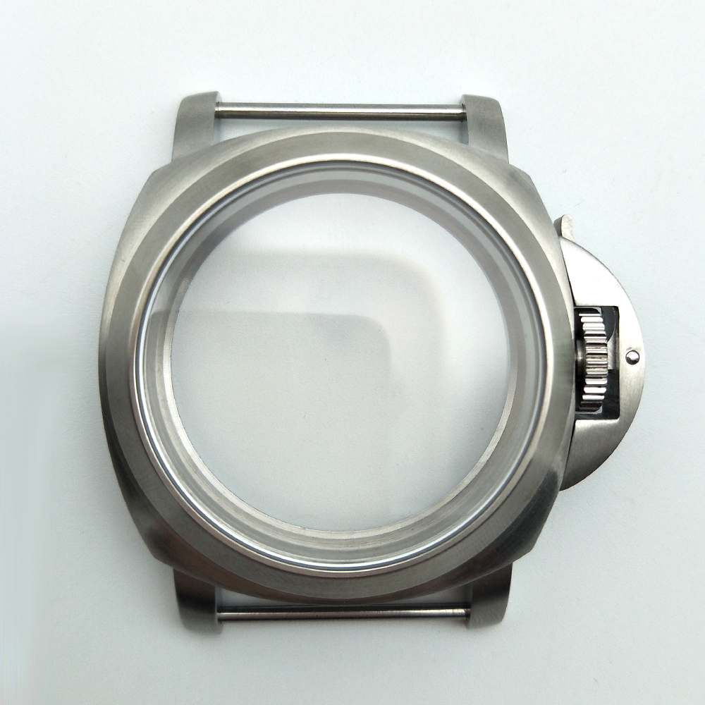 44mm PARNIS Watch Cases silver brushed 316L housing for 6649/6498 movement back cover perspective 44-2 | Fotoflaco.net