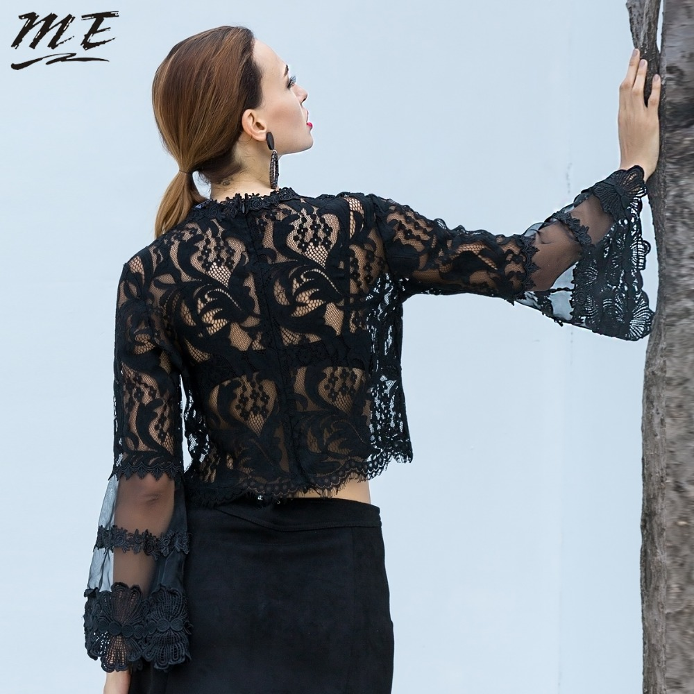 a71424bc1a3a0 ME Plus Size Women Spring Blouse 5XL Black Lace Oversize Long Sleeve O neck  See through Sexy Women Shirts Sexy Large Women Tops-in Blouses   Shirts  from ...